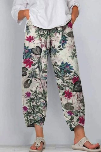New Casual Pants Ladies Loose Cotton Linen Dandelion Stretch Loose Men And Women All-Match Street Clothes Women 2021