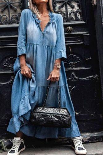 summer Vintage dresses for women 2021 Lace  3/4 Sleeve Large Hem Tassel Loose Maxi Denim Dress Women's Clothing женское платье