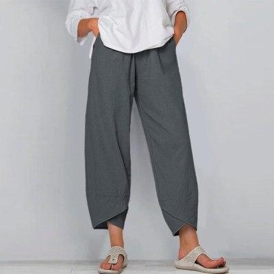 Women Cotton Linen Vintage Pants 2021 Summer Elastic Waist Irregular Trousers Pantalon Casual Dandelion Print Cropped Pants 5XL