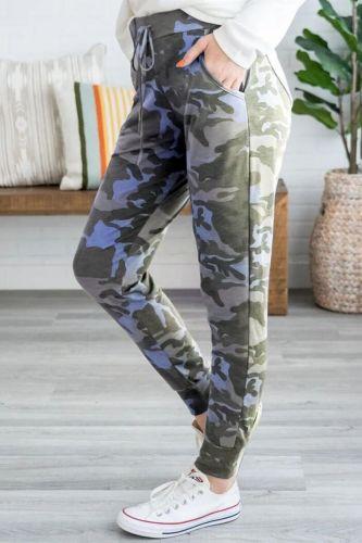 Digital Printed Hips High Waist Camouflage Casual Pants Sweatpants Women