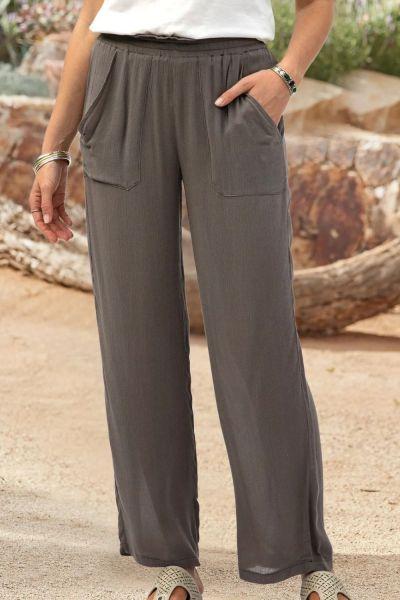 Women Ladies Elasticated Waist Loose Fit Cotton Linen Long Pants Baggy Trousers