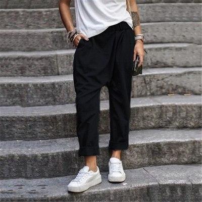 New Women Casual Basic Loose Elastic Long Pant Trousers Pocket Plus Size S~5XL