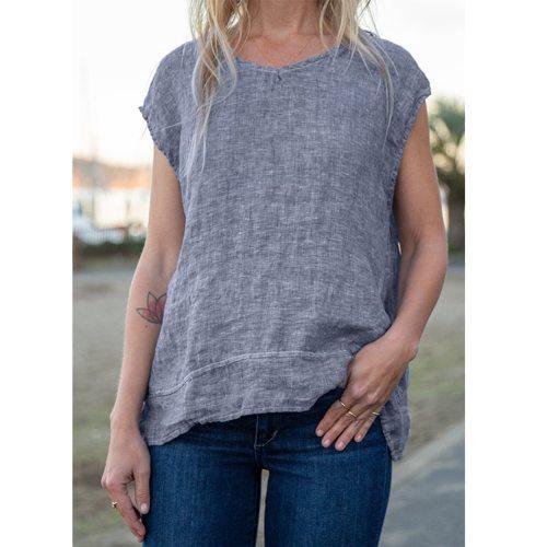 Vintage Streetwear Tshirts Harajuku Aesthetics Women's Summer Fashion Loose Cotton And Linen Round Neck Sleeveless Tshirts