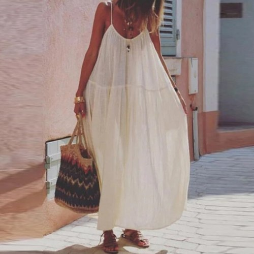 Sleevelee Strap Dress Women Casual Bohemian Style Loose Oversize Lady Dress Fashion Summer Beach O-Neck Backless Party Dresses