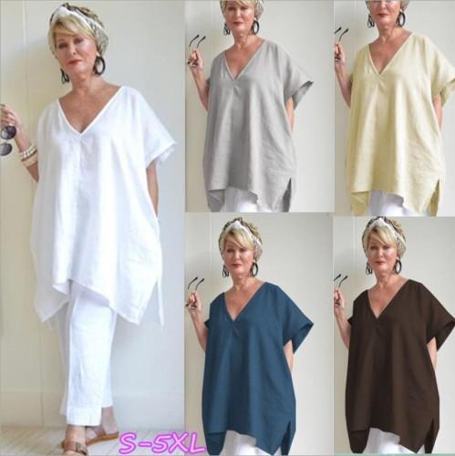 V-Neck Solid Color Large Size Bat Sleeve Cotton And Linen Loose Women Blouse