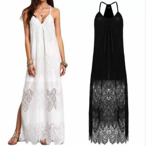 2021 Summer Fashion Lace Sexy Long Women Holiday Beach Sundress Spaghetti Strap Black White V-neck Maxi Dress Elegant Female