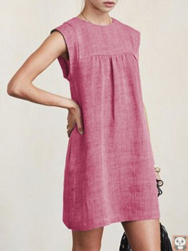 2021 Spring and Summer Hot Loose Women's Casual Linen Cotton Linen Solid Color Dress Woman Dress