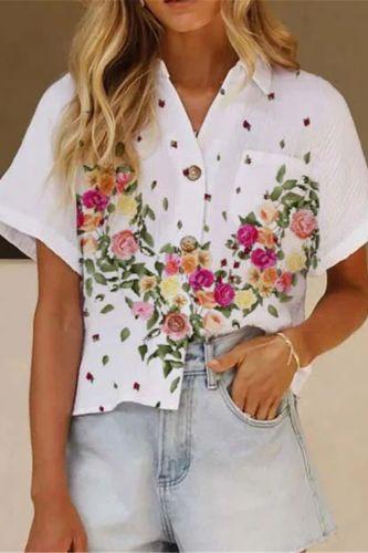 2021 White Print Lapel Summer Short-Sleeved Casual Women Shirt