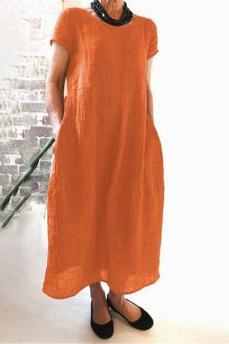 Womens O Neck Short Sleeve Polka Dot Dress Ladies Cotton Midi Dresses