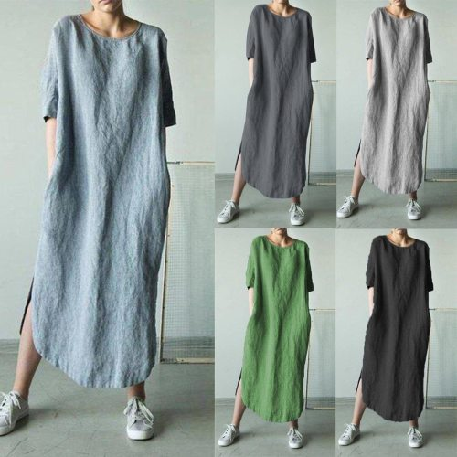 Fashion Women Solid Color Cotton And Linen Long Sleeve O-neck Fold Casual Dress #snr