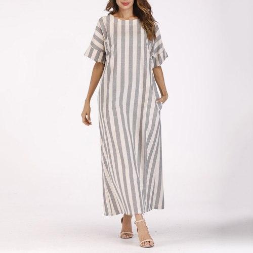 Plus Size Boho Striped Maxi Dresses For Women Summer 2021 Baggy Short Sleeve Ladies Casual Kaftan Cotton Linen Dress Robe Jurken
