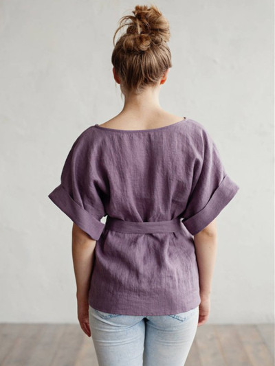 Women Casual Kimono V-Neck Cotton Linen Top With Tie Belt Loose Tunic Blouse winter camiseta mujer ladies clothing