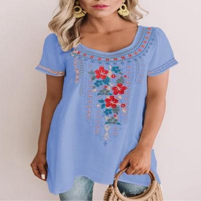 2021 Fashion Casual Style Printed Chiffon Short-Sleeved Blouse