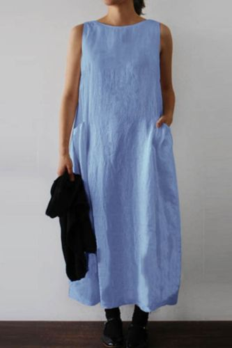 Cotton Linen Casual Women Hot Sale Style Round Neck Sleeveless Double Patch Pocket Long Dress