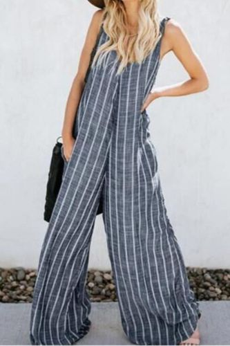 Summer Elegant Solid Wide Leg Playsuits Women 2021 Fashion Long Sleeve Striped Party Jumpsuit Office Lady Casual Loose Overall