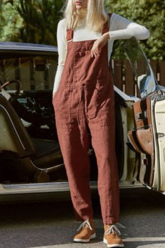 Rompers Womens Jumpsuit Summer Cotton Hemp Fashion Solid Overalls Casual Jumpsuits Playsuit Female 2021 combinaison femme