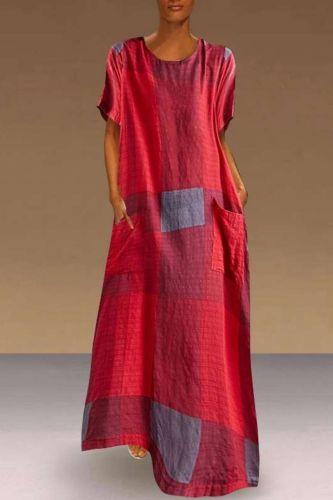New 2021 Summer Women Long dress Plaid Patchwork Short Sleeve Cotton And Linen Dresses Red Green