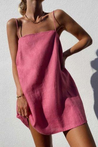 Spaghetti Strap Dresses Women Summer Dress Sexy Sundress Mini Cotton Linen Vestidos