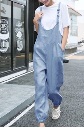 Overalls Pants Women Large Size Casual Solid Loose Linen Spring Summer High Waist Pocket Loose Pants