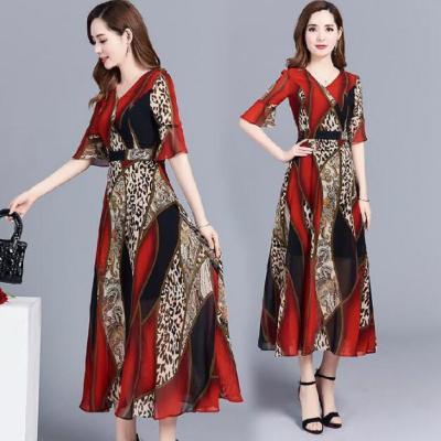 Women's Clothing Summer Appliques Woman Dress Women Dress Polyester Fiber Leopard Print Dress Women Summer Women's Dress