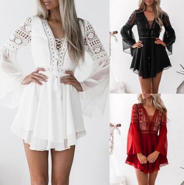 Hollow Out White Dress Sexy Women Mini Chiffon Semi-Sheer Checkered Dress Plunge V-Neck Long Sleeve Crochet Lace Dress Black