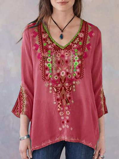 Blouses Women Boho Casual V Neck Long Sleeve Floral Embroidery Blouse Top Loose Shirt