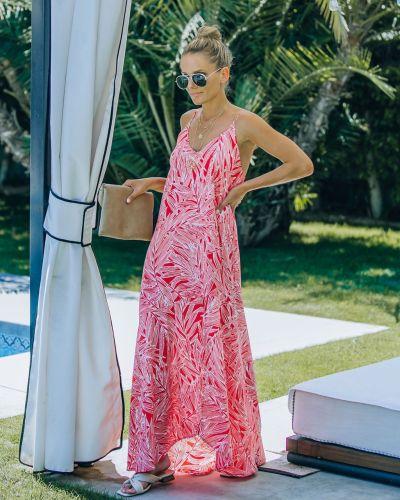 Leaf Print Irregular Big Suspender Boho Maxi Dress