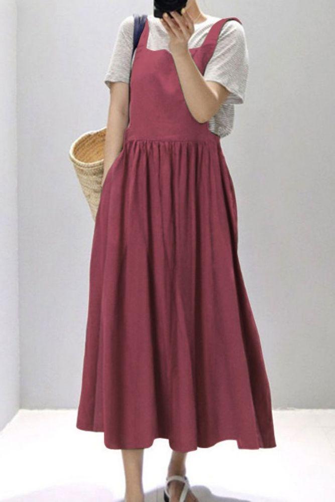 2021 Kaftan Overall Dress Women's Summer Sundress Casual Square Neck Midi Vestidos Female Solid Robe Femme Oversized