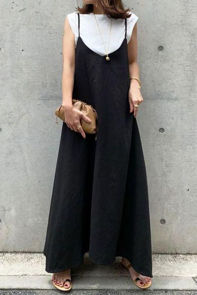 2021 Summer Autumn Women OL Dress Casual Leisure Spaghetti Strap Pure Black Simple Dress Japanese Style Maxi Dress Vestidos New