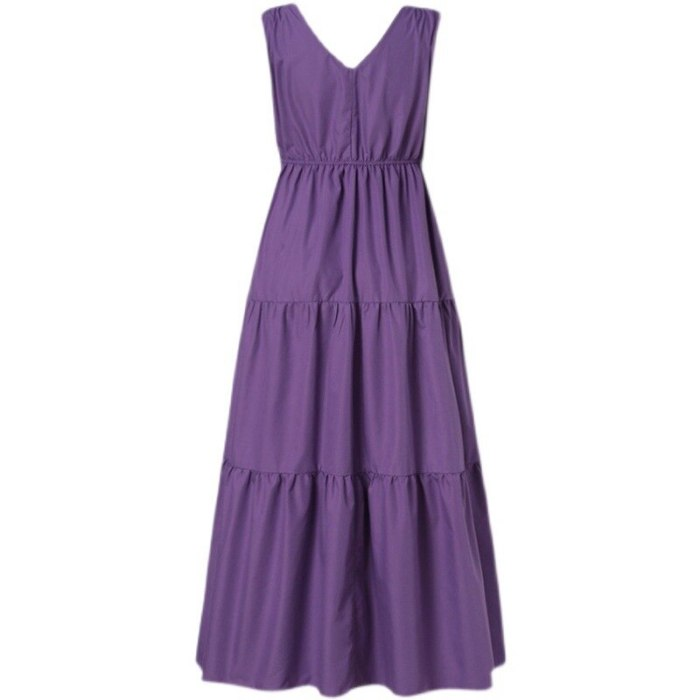 New Women Casual Basic Summer Solid Dress Loose V-neck Sleeveless Backless Plus Size S~4XL