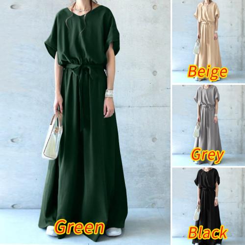 Women Elegant Long Shirt Dress Summer Short Sleeve Solid Maxi Vestido Fashion Belted Loose Work Casual Sundress Plus Size