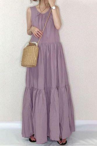 Bohemian Ruffle Dress Women's Summer Sundress 2021 Sleeveless Tank Vestido Female Casual O Neck Robe Femme Plus Size 5XL