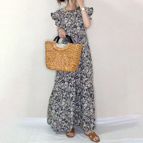 Japanese Style Women's New 2021 Summer Dress Round Neck Printing Small Floral Lotus Sleeve Loose Thin Casual