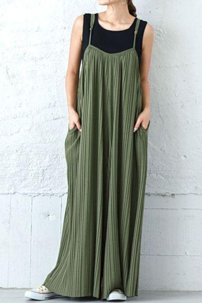 2021 Korea Chic Temperament Fashion Simple O Neck Robe Solid Sleeveless Green Suspender Midi Dress Women Summer 16E386