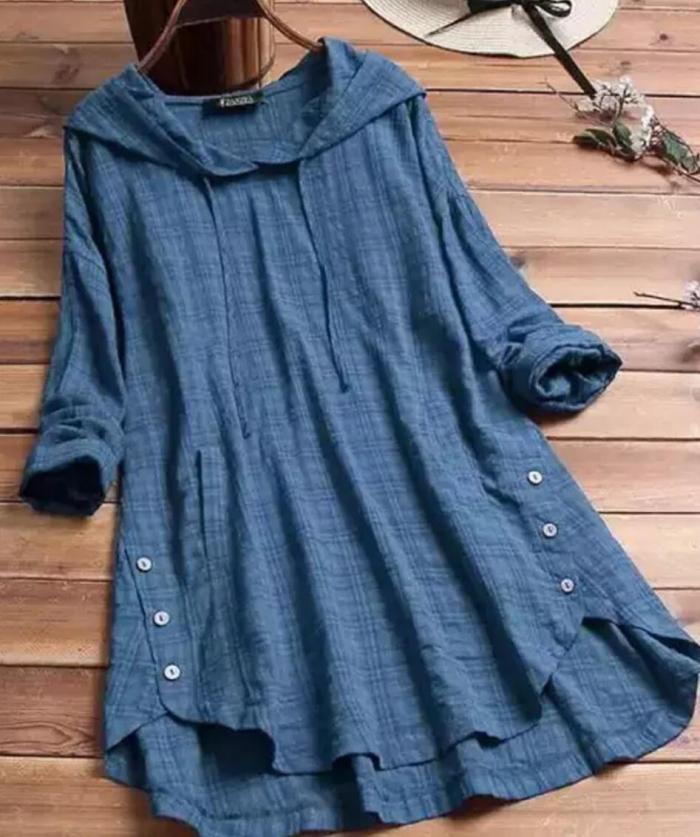 Women Blouse Autumn Plaid Hoodies Long Sleeve Shirt Casual Linen Tunic Tops