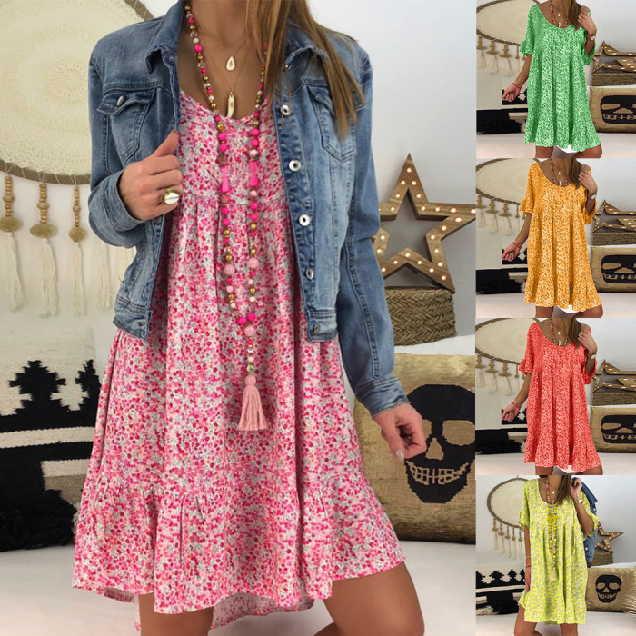 Red Floral Casual Short Sleeve Ruffled Dresses