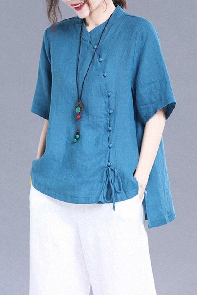 Cotton Linen Summer Large Size Blouse Women Retro Diagonal Collar Stand Up Collar Ramie Short Sleeve Loose Linen Shirt