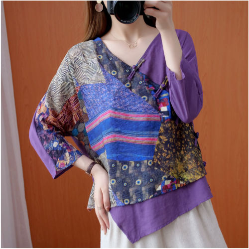 Vintage Ethnic Blouse Shirt Stitch Summer Clothes For Women Plus size Ladies Tops Tunic 3/4 Sleeve Loose Casual V neck