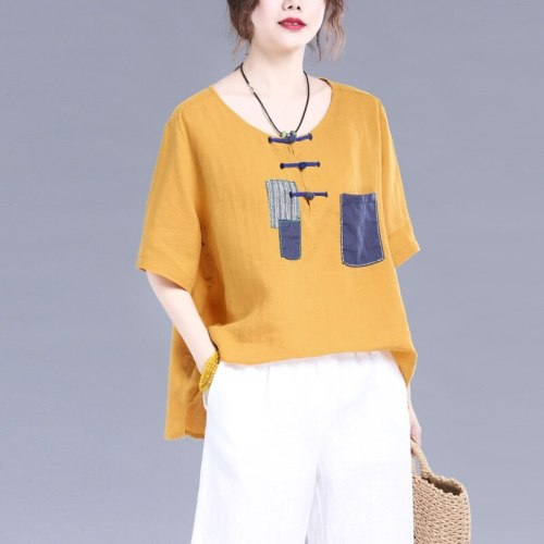 Womens Tops And Blouses 2021 Summer Traditional Chinese Clothing Cotton Linen Loose Vintage Oriental Chinese Shirt 10405