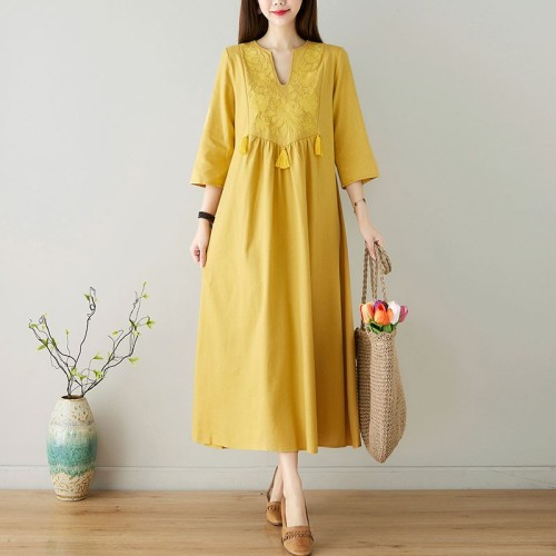 Women Cotton Linen Long Dress New 2021 Summer Indie Folk Style Vintage Floral Embroidery Loose Female Casual Dresses S3693