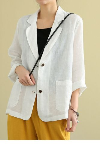 Spring Summer Arts Style Women Long Sleeve Cotton Linen Blazer Mujer Loose Tops All-matched Casual Vintage Blazers Coat S969