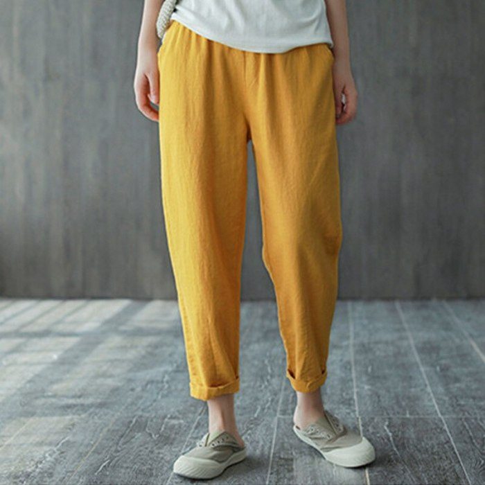 Women's Spring Summer Cotton Linen Pants Female Solid Elastic Waist Candy Colors Harlan Trousers Soft High Quality For Ladies