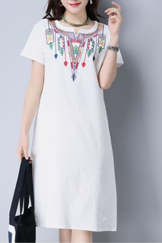 Women Woman Embroidery Embroidered Dress Ladies Blouse Beach Summer Vintage V-Neck Floral Loose Casual Party Streetwear Dresses