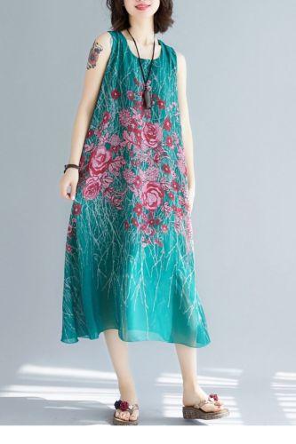 2021 NewFashion Elegant Summer Sleeveless Printed Women Draped Dress  Plus Size Bohemain Beach Dress FC232