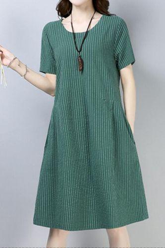 2021 New Arrival Short Sleeve Loose Summer Dress Cotton Linen Fashion Striped Vintage Dress Women Travel Casual Midi Dress