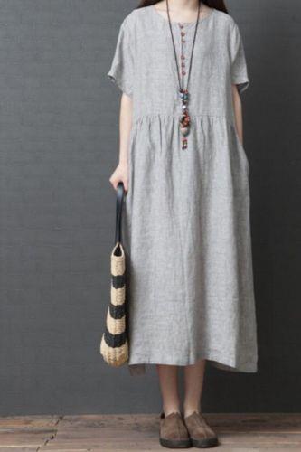 2021 New Arrival Short Sleeve Loose Summer Dress Cotton Linen Vintage Plaid Dress Button Plus Size Women Travel Casual Dress