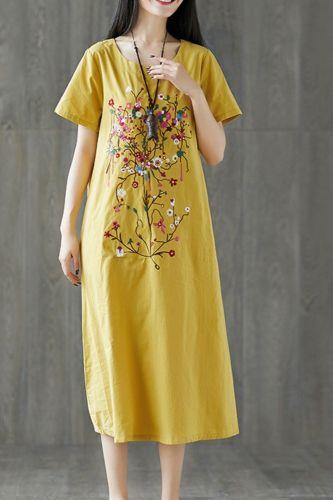 Summer Loose Dress Woman Casual Vestido Embroidered Short Sleeve Retro Woman Dress