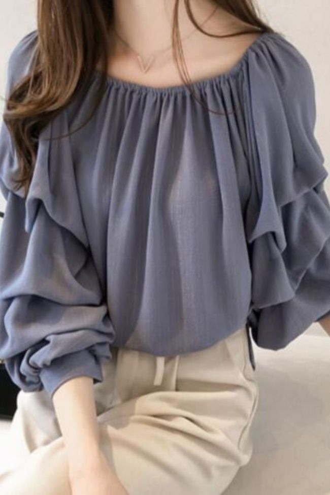 New Women Tops And Blouse 2021 Fashion Chiffon Blouse Long Sleeve Solid Color Female Tops Shirt Plus Size Women Blouse