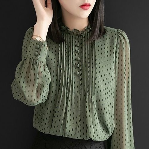 Women Spring Autumn Style Chiffon Blouses Shirts Lady Casual Long Sleeve O-Neck Polka Dot Printed Chiffon Blusas Tops DD8879