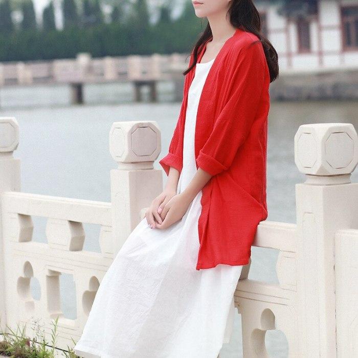 V-neck Long sleeve Women Blouse Shirt Kimono style Loose Casual Long Blouse Vintage Cotton Linen Women Shirts Blusas Tops C127